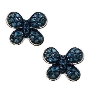 Sterling Silver Blue Diamond Butterfly Earrings